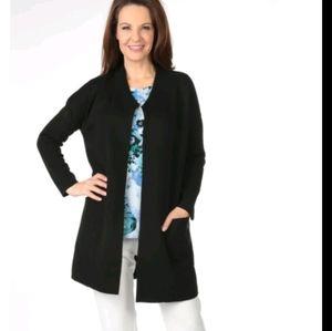 NEW Nina Leonard Blk Knit Coatigan